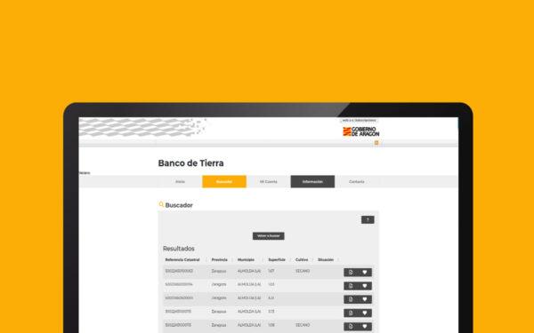 Aplicación web de banco de tierras del gobierno de Aragón